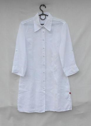 Летнее белое льняное платье рубашка с рукавом 3/4 🌿