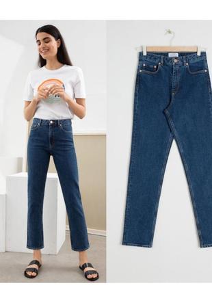 Прямые синие джинсы,джинсы типа мом