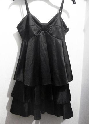 Мини платье gestuz чёрное короткое с воланами смок с оборками коктейльное