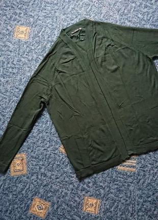 Пуловер свободного кроя zara без застежки, темно-зеленый цвет р.м