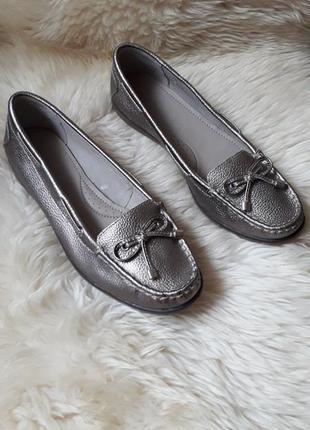 Серебристые кожаные туфли мокасины footglove 39.5 размер