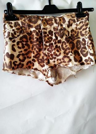 Короткие джинсовые шорты леопардовый принт