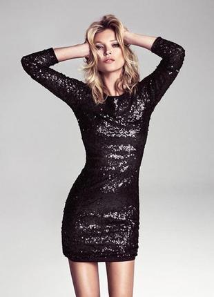 Шикарное чёрное вечерне-коктейльное платье в пайетки с открытой спинкой xs-xxs-s