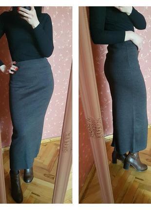 💗серая трикотажная юбка макси ( р.s-m)💗
