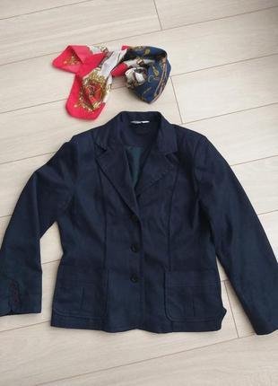 Женский жакет m&co из микрофибры синий с накладными карманами