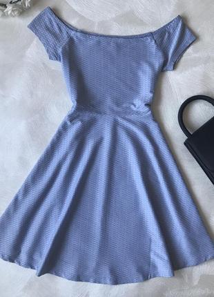Голубое платье new look с открытыми плечами