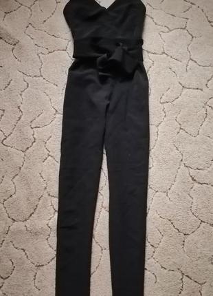 Чёрный классический комбинезон ромпер брючный с поясом на бретельках asos размер 38 м