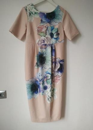 Шикарное платье миди карандаш футляр цветочный принт актуальное розы