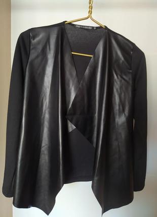 Пиджак женский трикотажный + передок экокожа