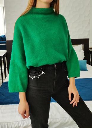 Зимний зеленый  женский свитер oversize , теплая кофта