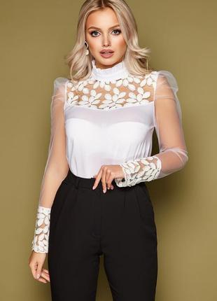 Шикарная белая блуза, размер s, m, l, xl