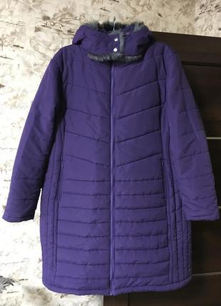 Зимнее стёганное пальто,куртка с капюшоном!!