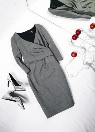 Платье шерстяное шерсть на запах гусиная лапка donna karan new york