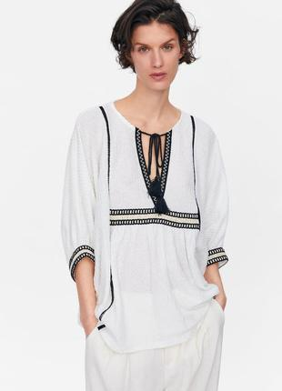 Zara текстурная блуза в стиле бохо