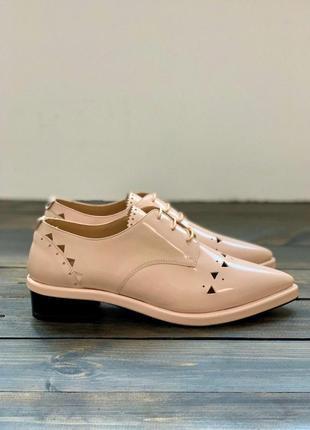 Розовые кожаные туфли с перфорацией twin set