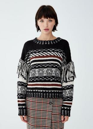Уютный свитер в узоры с бахромой от pull&bear