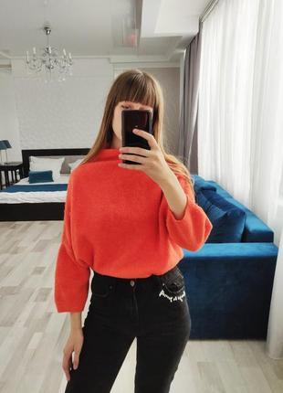 Зимний оранжевый женский  свитер oversize , теплая кофта