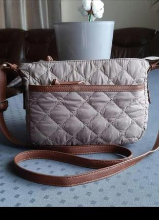 Красивая стеганая коричневая сумка кроссбоди фирмы damart