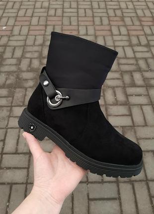 Новые зимние ботинки черные замшевые под замшу полусапожки сапоги ботильоны