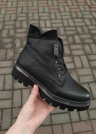 Новые зимние короткие ботинки кожаные под кожу ботиночки ботильоны полусапожки сапоги