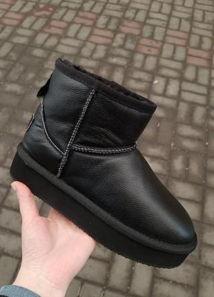 Натуральная кожа зимние угги короткие черные кожаные валенки ботинки сапоги полусапожки