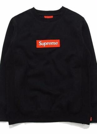 Свитшот supreme чёрный   вышитый box logo