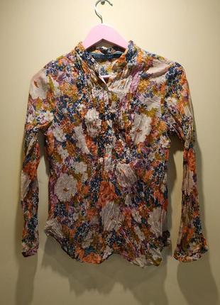 Рубашка блуза блузка нежная нарядная пуговицы цветы зара