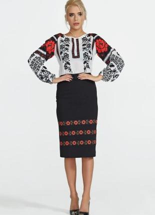 Черная юбка миди в этно стиле от nenka