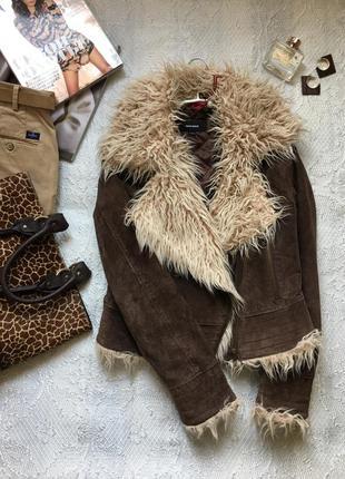 Демисезонная замшевая куртка-косуха на тонком синтепоне /tally weijl/ размер m