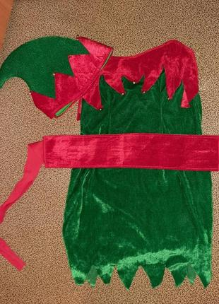 Карнавальное платье эльф, помощница санты.