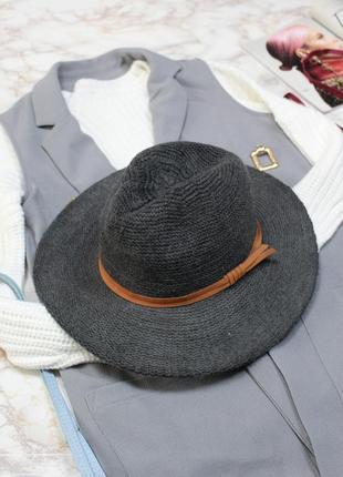 Шляпа бохо широкополая серая качественная