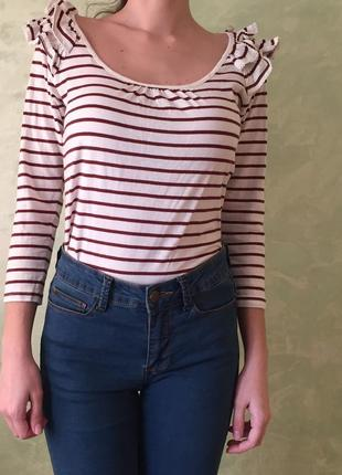 Кофта в полосочку с рюшами размер s/m, блуза