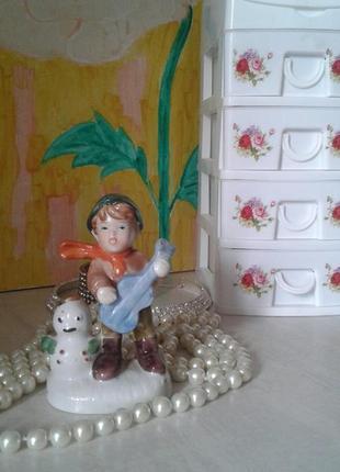 Статуэтка мальчик со снеговиком, фарфор, европа