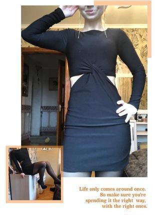 Сексуальное женские маленькое чёрное платье мини короткое s