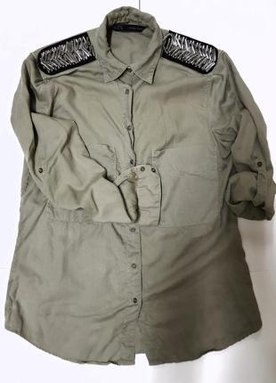 Рубашка хакі вільного крою від zara