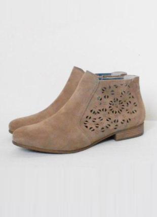 Осенние весенние замшевые ботинки с перфорацией