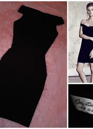 Чёрное, сексуальное, по фигуре, облегающее платье с открытыми плечами miss selfridge