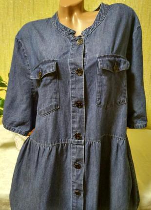 Классное джинсовое платье на пуговицах р 28,30