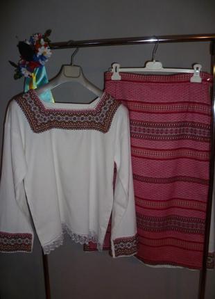 Народный украинский костюм, женская вышиванка (сорочка, подьюбник, юбка, жилетка)