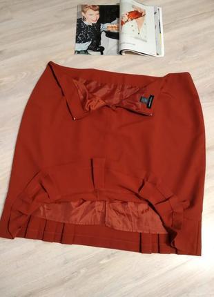 Стильная брэндовая юбка карандаш миди кораллового цвета большого размера