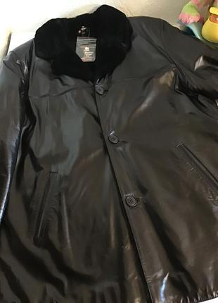 Куртка дубленка из натуральной кожи, натуральный мех, р.3xl