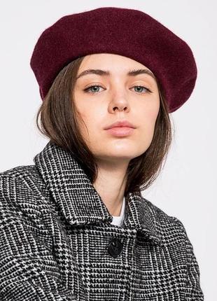 Берет шапка шапочка смесовый шерстяной шерсть бордовый марсал винный качественный новый