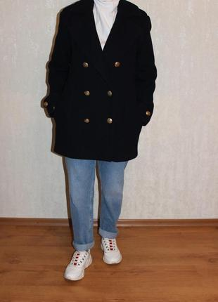 Пальто шерстяное h&m, крой прямой