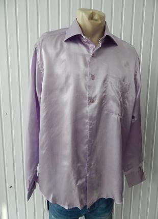 Мужская рубашка шелковая сиреневая cerruti уценка