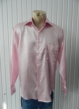 Мужская рубашка шелковая розовая cerruti. уценка