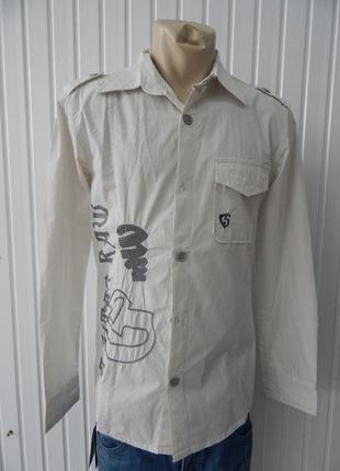 Мужская рубашка  в полосу с орнаментом g-star