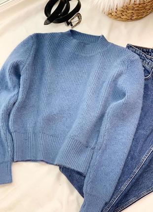 Женская кофта укорочённая шерстяная свитер зимний с манжетами