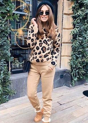 Стильный женский спортивный костюм вязаный леопардовый принт шерстяной