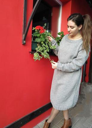 Вязаное платье свободное оверсайз длинное ручная работа