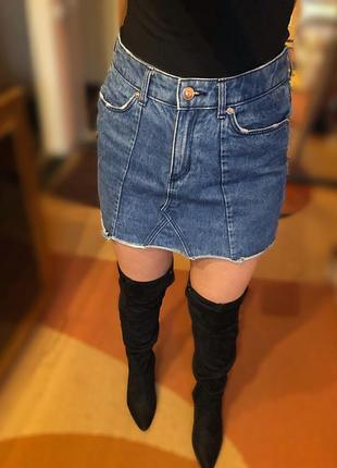 Синяя джинсовая юбка h&m